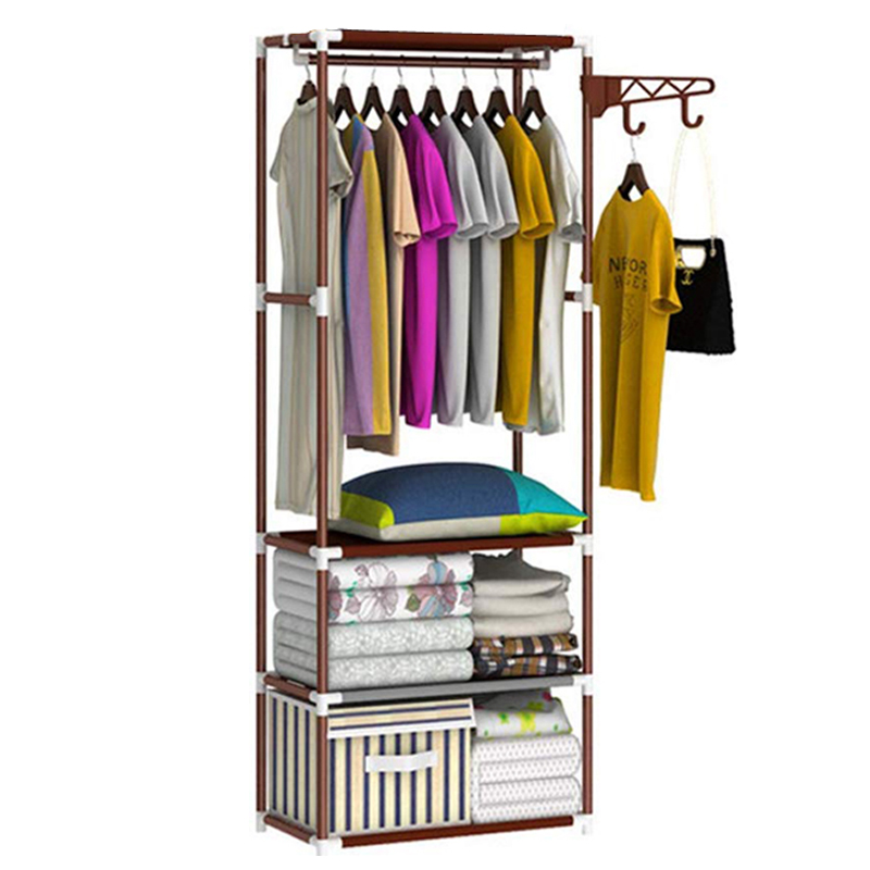 Metal Coat Rack Floor Standing Clothes Wardrobe Garment Hanger Rack With Storage Shelves Clothing Organizer Bedroom Furniture