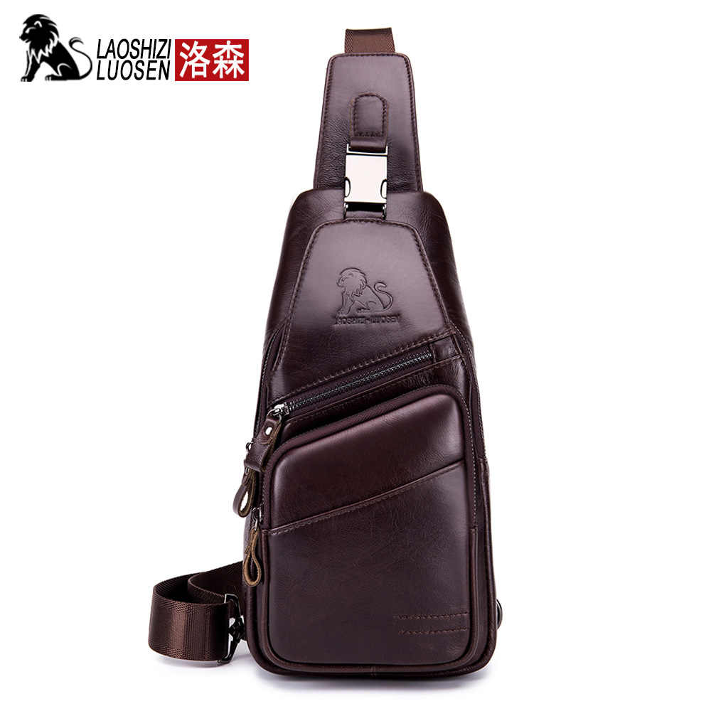 2019 bolso de pecho Vintage para hombre, bolso de hombro para hombre, bolso Retro de bandolera de cuero genuino de cera de aceite sólido pequeño para hombre