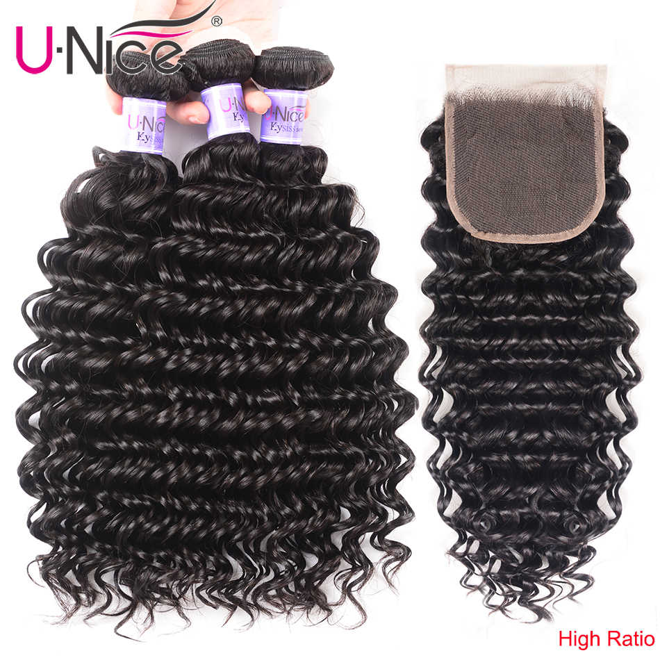 "UNice Hair Kysiss Series Deep Wave Malaysian Human Hair 3 Bundles With Closure 12-26 "" Virgin Hair Extensions Free Part"
