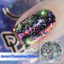 Sequins Nail-Art-Powder Holographic Flakes Chameleon Aurora Dust Shining Dazzling