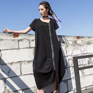 2019 New SUmmer Round Neck Short Sleeve Ziper Dress Women's Black Loose Plus Size Big Size Dress Women Fashion Tide LT628s30(China)