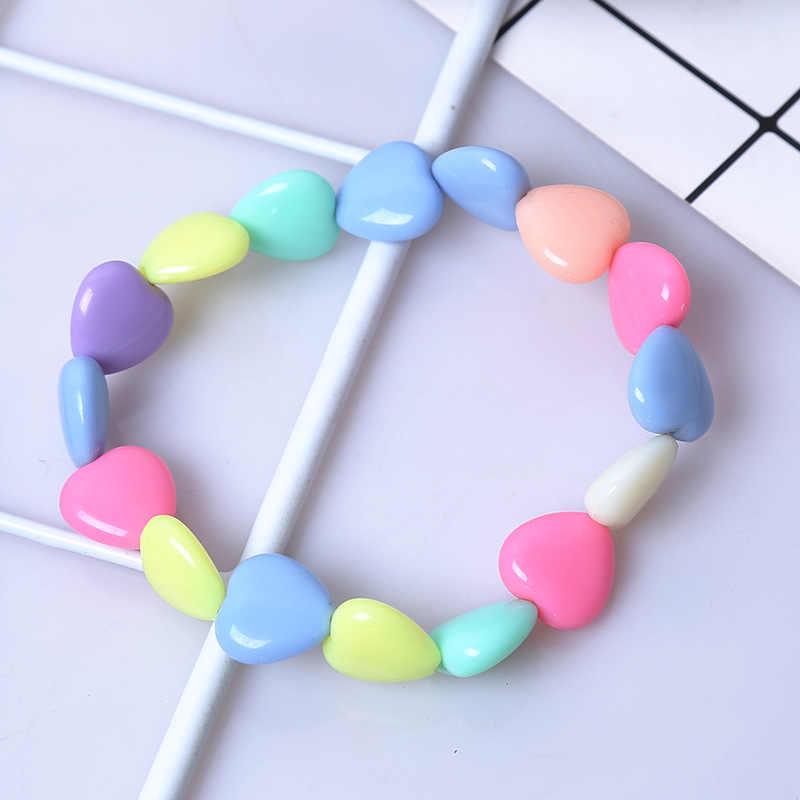 קיץ סגנון ילדי ילדים חמוד סוכריות צבעוני קריקטורה אקריליק לב צמיד לילדה מסיבת יום הולדת תכשיטי מתנה סיטונאי