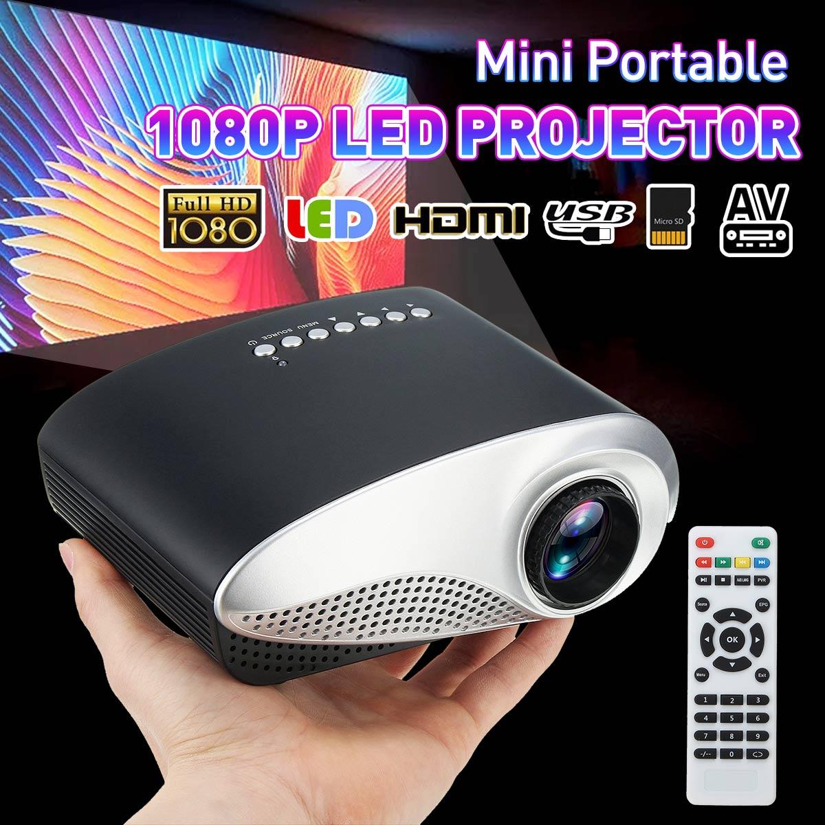 Mini Pocket 1080P HD LED LCD Projector HomeTheater Cinema AV VGA USB Multimedia