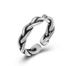 925 Sterling Silver Vintage Weave Opening Wedding Ring Jewelry Women Men Adjustable Ring недорого