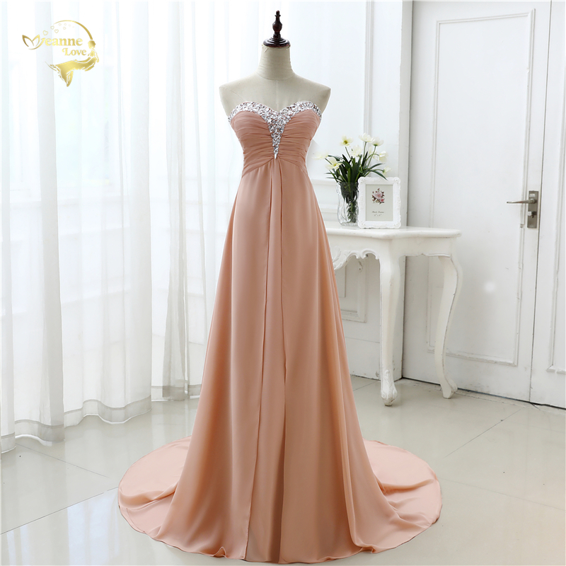 vestido de festa vestido longo 2019 Open Leg Lace up Sweetheart Neck Beading Crystal Formal Long Chiffon Evening Dresses OL4311