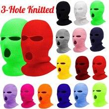 Moda feminina máscara de esqui masculino inverno quente esqui ciclismo 3 buraco à prova de vento 3 buracos de malha balaclavas capa máscara facial completa ao ar livre