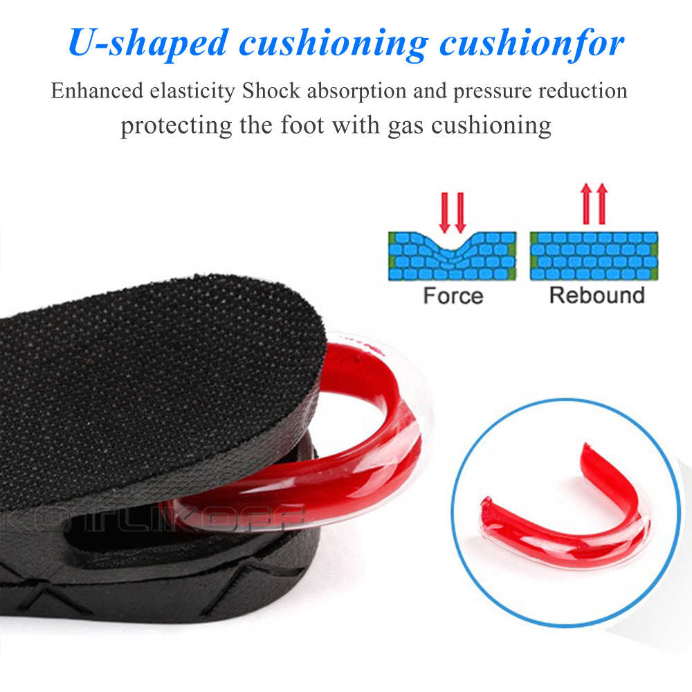 KOTLIKOFF görünmez boy uzatan ayakkabı astarı ayarlanabilir 2 katmanlı 3 CM/4.5 CM hava yastığı pedleri asansör tabanı tabanlık ekler ayakkabı