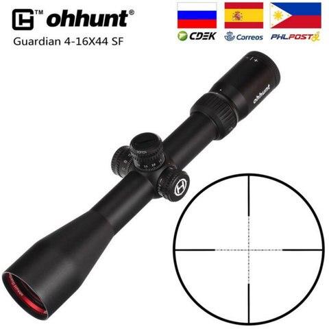 ohhunt guardian 4 16x44 sf caca rifle escopo 1 2 meia mil ponto reticulo lado
