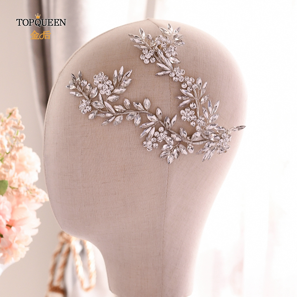 TOPQUEEN  Luxury Crystal Bridal Tiara Handmade Wedding Headpiece Rhinestone Wedding Hair Jewelry Headband Hair Accessories HP271