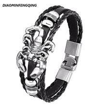 2020 mode Leder Armband Multilayer Skorpion Anker Armband männer Retro Punk Rock Frau Legierung Perle Nautischen Schmuck PG-73