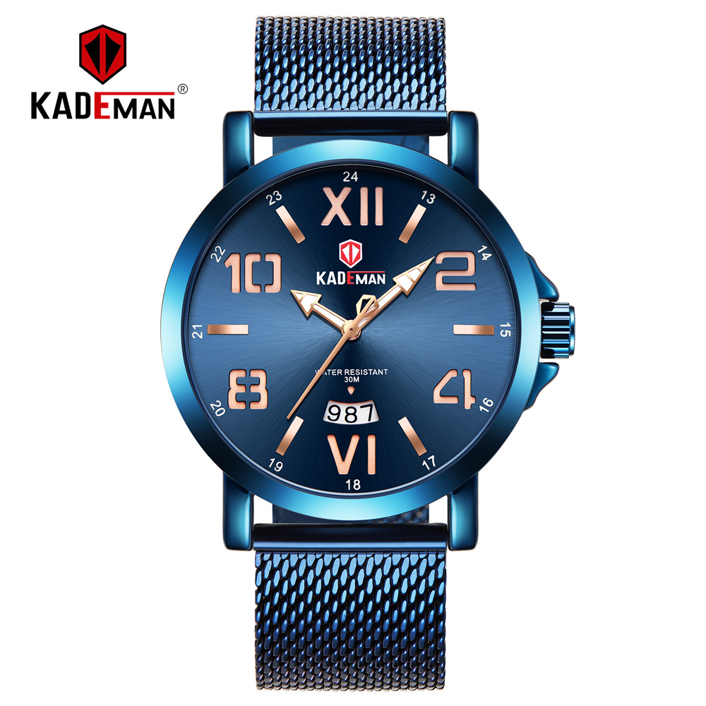 KADEMAN Luxury Mens'Watch Fashion Gold Watch 3TAM Classic Male Quartz Wristwatches TOP Brand Full Steel Casual Relogio Masculino