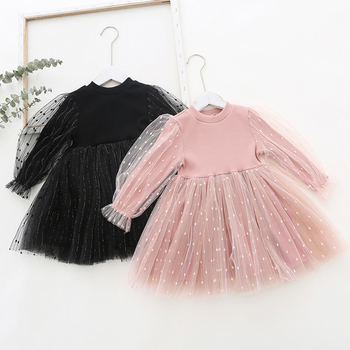 Menoea Baby Girl Cute Costume Fall 2020 Children Girls Mesh Cotton Dress with Long Puff Sleeve Princess Dresses girls dress