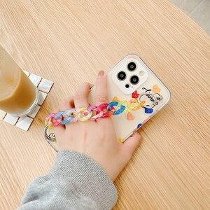 Image 3 - Tobebest Liefde Hart Armband Telefoon Gevallen Voor Iphone 12 Pro Max 11 Promax X Xs Xr 7 8 Plus Se 2020 Kleurrijke Ketting Soft Cover