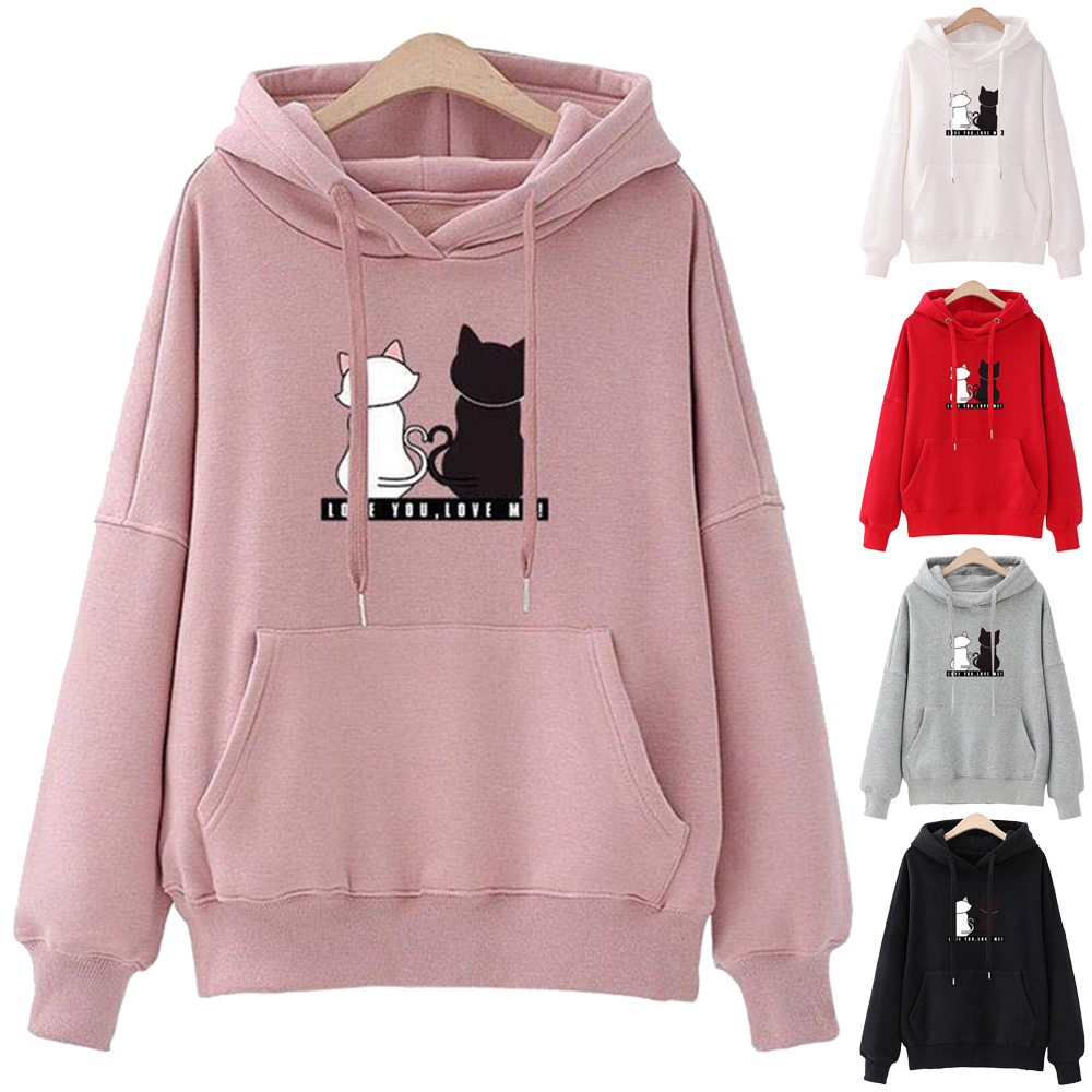 Women Kpop Hoodies Cute Cartoon Cat Print Plus Size Womes Sweatshirt Winter Harajuku Long Sleeve Loose Female Hooded Pullover