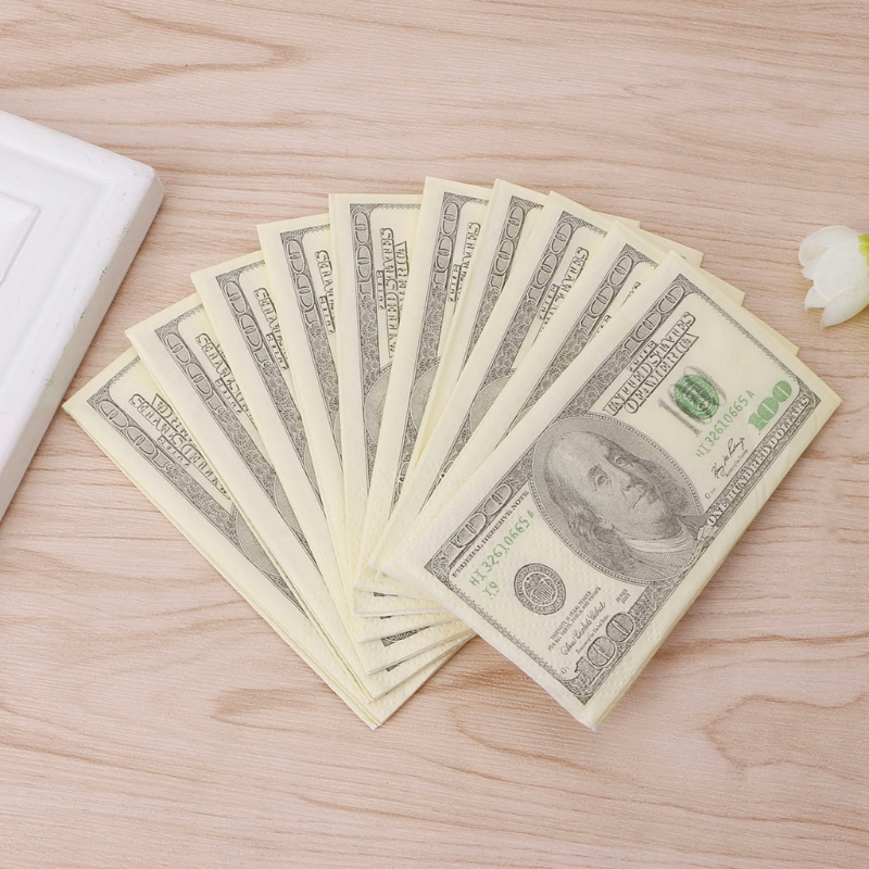 9Pcs/1 Pack 3 Layers Soft Printing Dollars Bill Funny Money Toilet Tissue Paper