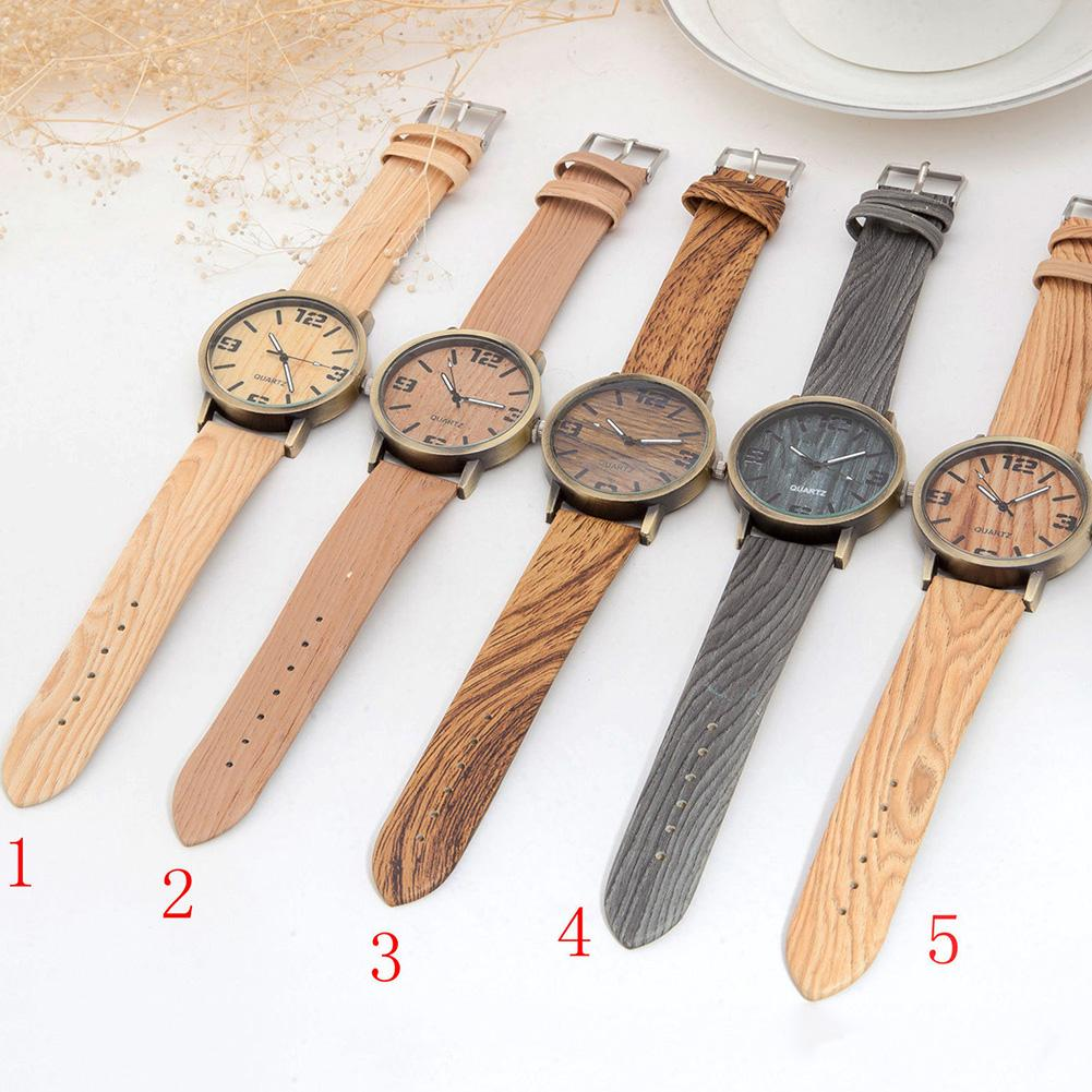 2019 New Fashion Watch Men Women Wood Grain Round Dial Faux Leather Strap Arabic Numerals Quartz Wrist Watch Zegarek Meski