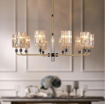 All copper crystal light luxury chandelier after modern minimalist bedroom living room lamp home atmosphere fashion creative hom