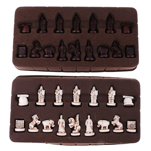 Portable Vintage chinois traditionnel échecs résine terre cuite armée Chese pièces artisanat objets de collection cadeau 1
