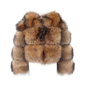 Image 5 - Розовый JAVA QC1884 Новое поступление пальто из натурального меха енота, женская меховая куртка зима роскошные пушистые енота пальто Лидер продаж