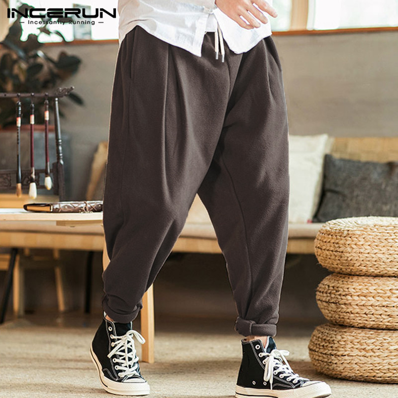 INCERUN Men Harem Pants Joggers Fleece Fashion Trousers 2019 Baggy Retro Drawstring Solid Streetwear Mens Casual Pants Plus Size