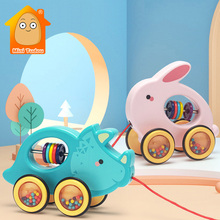 Baby Pull Walking Toy Creative Cute Cartoon Rabbit Crab Hedgedog Drag Car Plastic Animal Pull Rope Toys Car For Infant 12 months