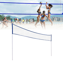 Portable Beach Volleyball Net Folding Adjustable Volleyball Badminton Tennis Net With Stand Pole For Indoor Or Outdoor Training