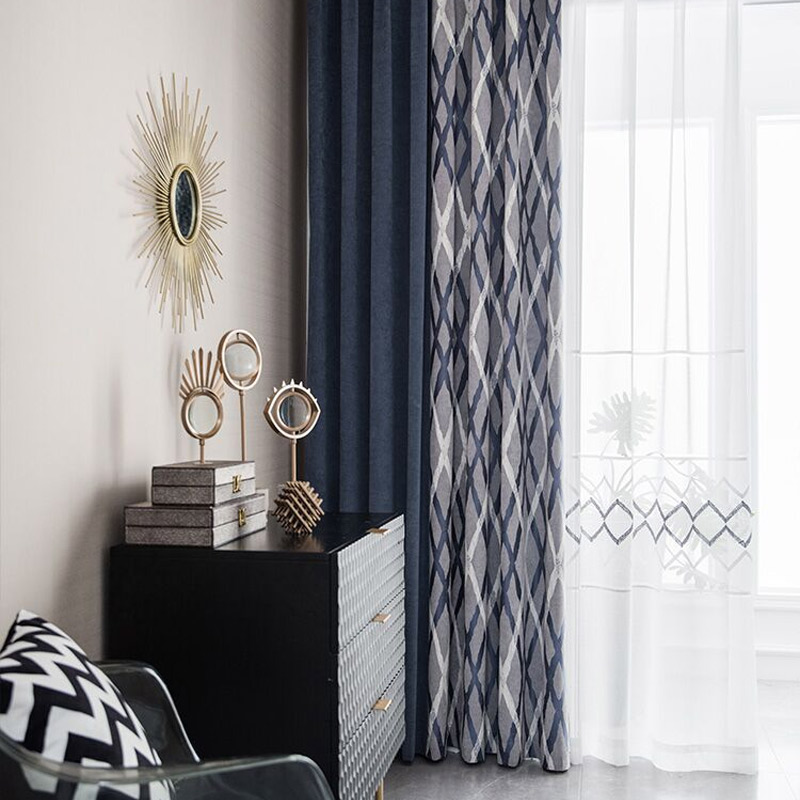 Custom Curtains Nordic Modern High Quality Chenille Color Matching Blue Bedroom Window Cloth Blackout Curtain M716
