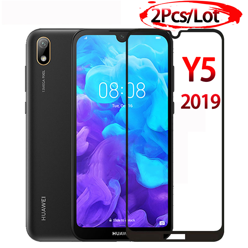 2PCS Tempered Glass For Huawei Y5 2019 Glas On The For Huawei Y 5 2019 Y52019 AMN-LX9 AMN-LX1 AMN-LX2 AMN-LX3 Safety Full Cover