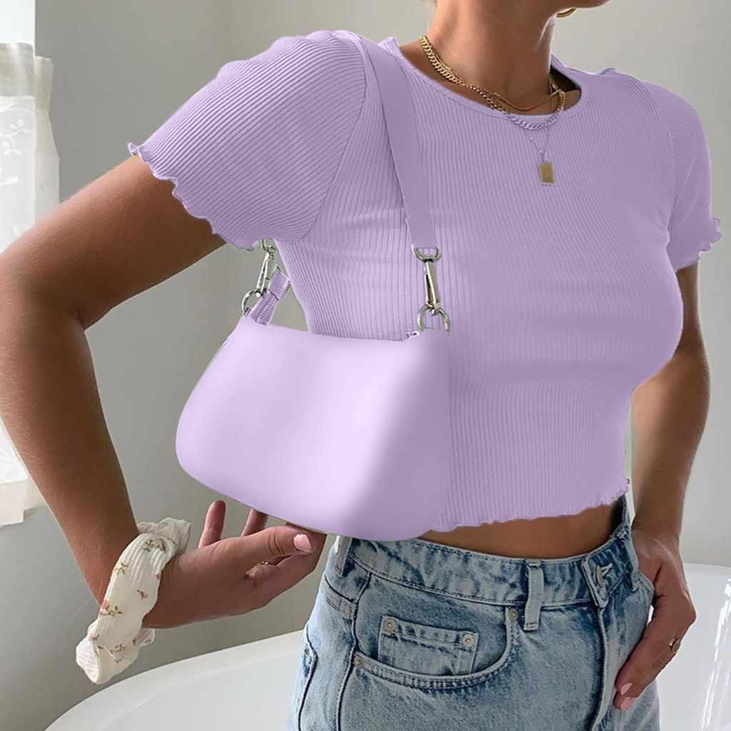 Tricoté hauts été femmes à manches courtes mince Sexy O cou réservoir hauts coton Streetwear basique décontracté culture hauts femmes 2020
