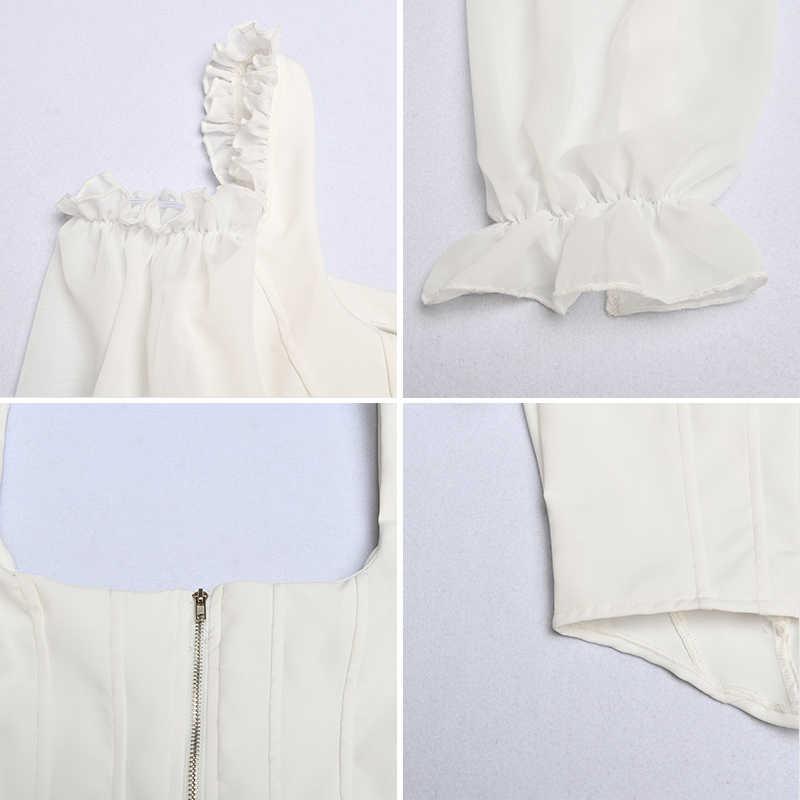 Articat 白シフォンセクシーな tシャツの女性ファッションスクエア襟隠しブレストスリム包帯クロップトップ背中ストラップショート tシャツ