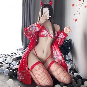 Japanese Kawaii Lingerie Cosplay Costume Sakura Girl Kimono Dress Yukata Bathrobe Women Floral Wedding Bridal Uniform Robes lovelive love live ayase eli flower kimono yukata dress uniform outfit anime cosplay costumes