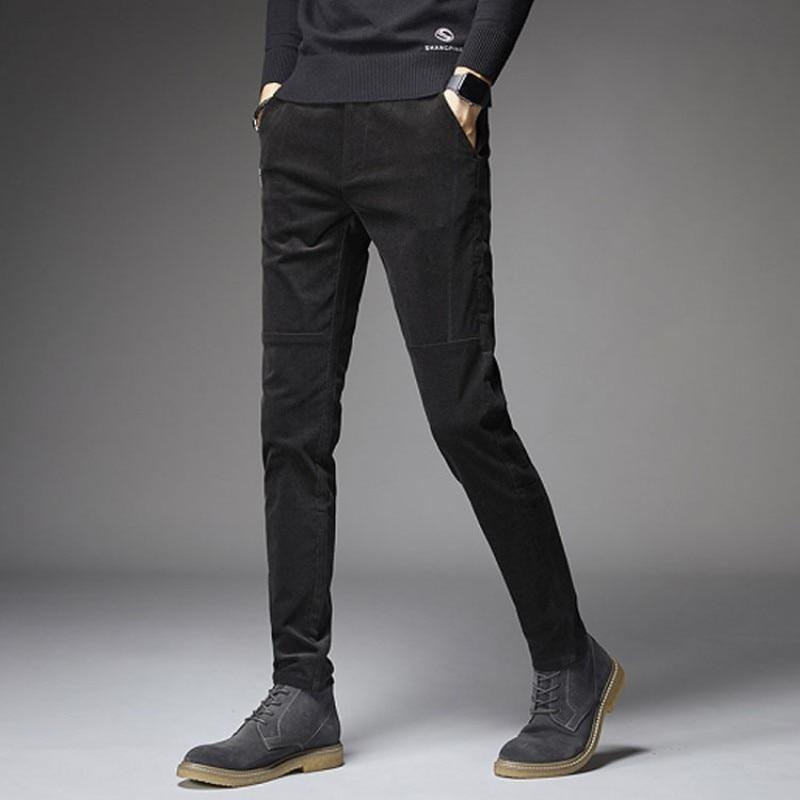 Autumn Mens Corduroy Long Pants Casual Slim Fit Pencil Pants Male Winter Fleece Lining Warm Trousers Streetwear Plus Size 28-40