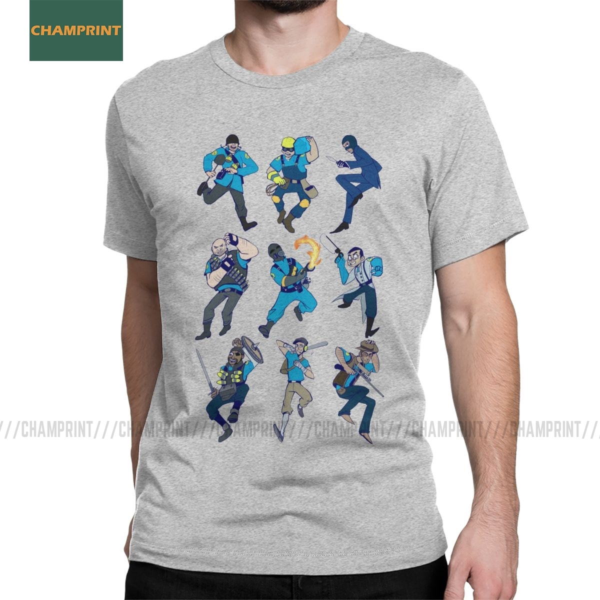 Men's <font><b>Team</b></font> <font><b>Fortress</b></font> <font><b>2</b></font> T <font><b>Shirts</b></font> TF2 Engineer Game Soldier Cotton Clothes Crazy Short Sleeve O Neck Tees Classic T-<font><b>Shirts</b></font> image