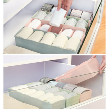 5 Lattice Drawer Storage Box Candy Color  Underwear Bra Sock Tie Plastic Container Storage Boxes Drawer Divider Organizer 5 cells plastic organizer storage box tie bra socks drawer cosmetic divider w617