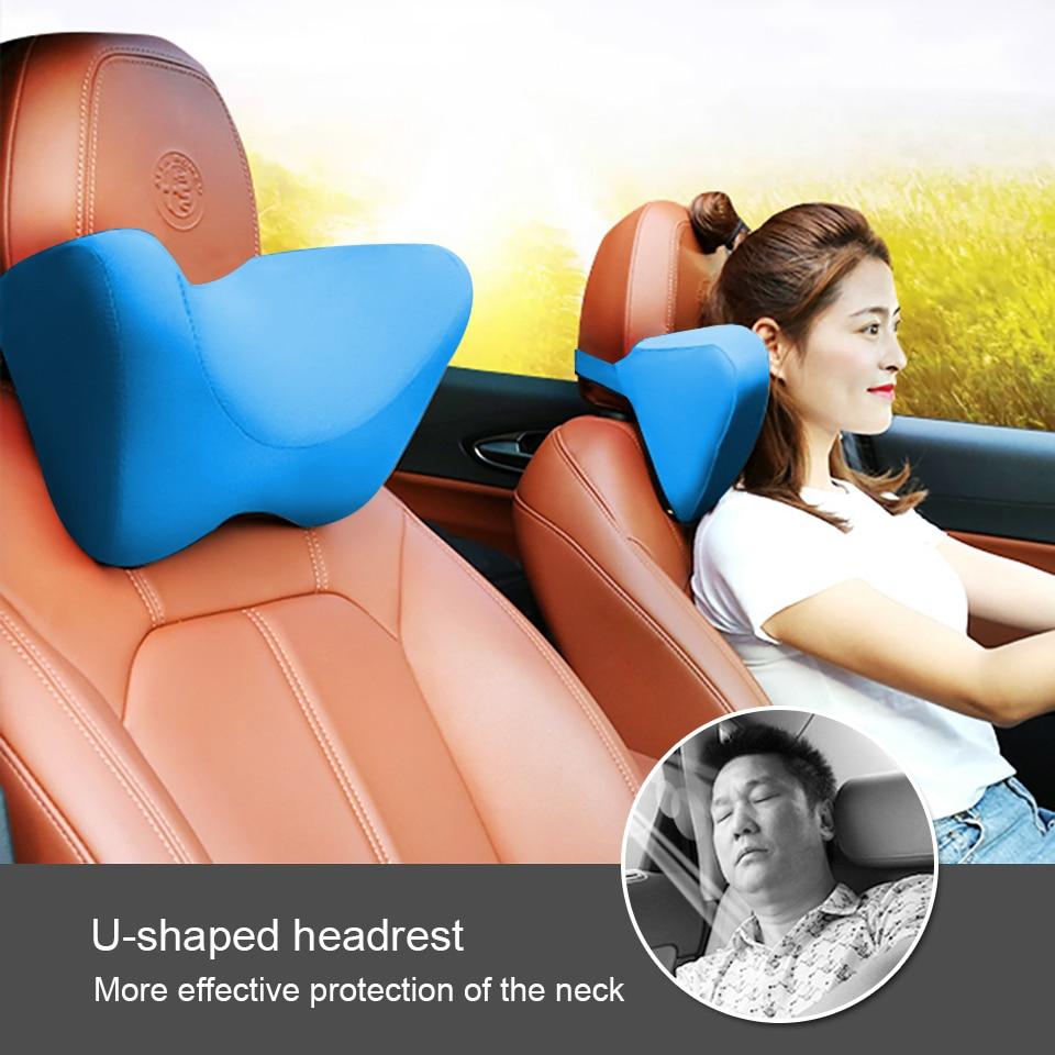 LOEN U Shape Memory Foam Car Travel Pillow Neck Pillow to Ease Fatigue Auto Headrest Lumbar Support For Car Office Home Chair