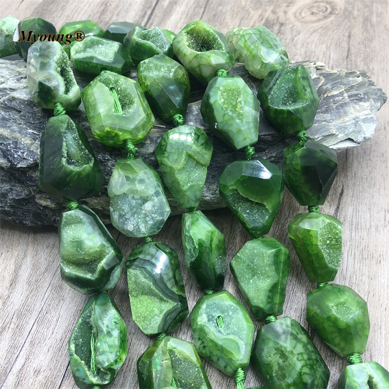 Faceted Grass Green Dragon Agates Geode Druzy Stone Cutting Nugget Pendant Beads For Necklace DIY Jewelry