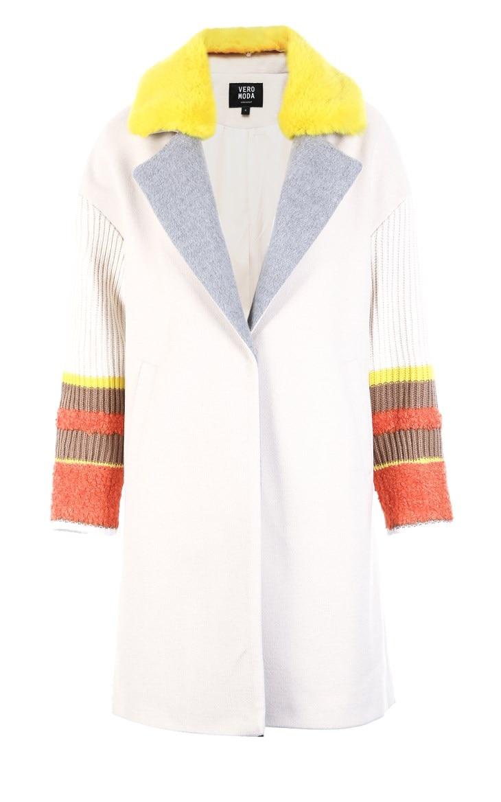 Vero Moda Women's New Stitching Color Matching Detachable Fur Collar Coat  318409504 18