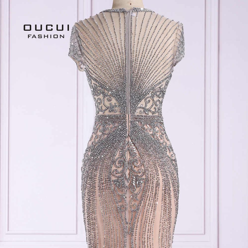 Oucui 2019 דובאי שמלות נשף סקסי יוקרה יהלומי שרוולים עירום בת ים ארוך שמלת ערב פורמליות שמלת חלוק דה Soiree OL103466