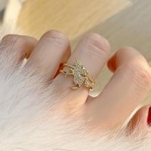 14K Real Gold Running Horse Engagement Adjustable Rings for Women Luxury Jewelry Zircon Elegant Wedding Rings