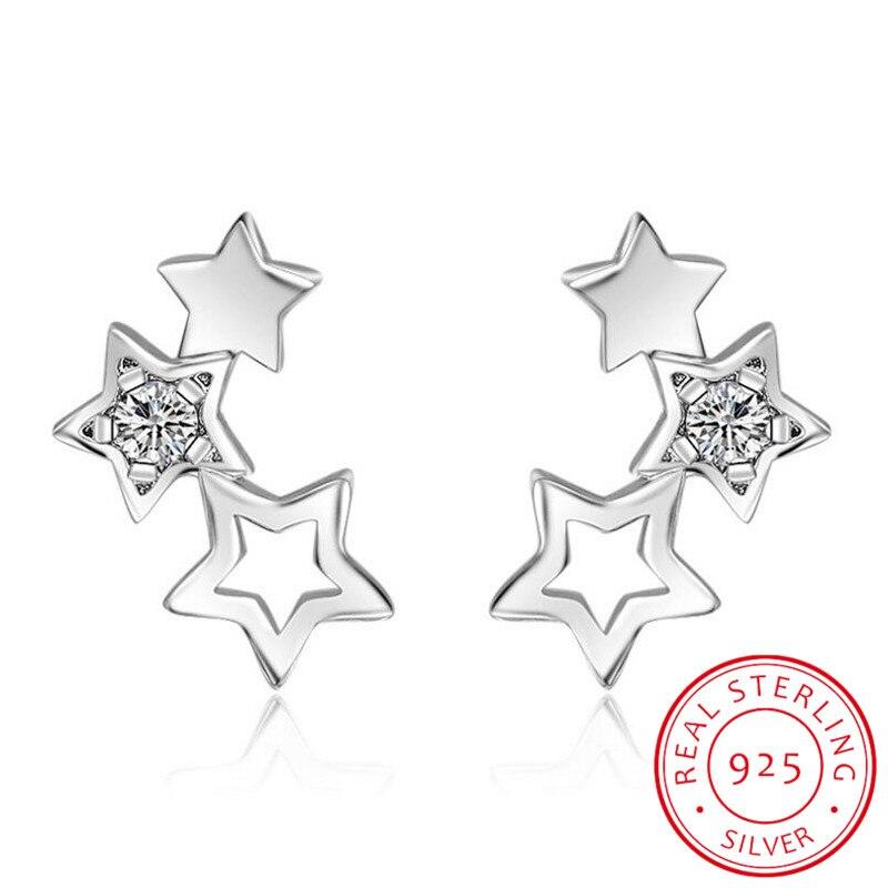 Pendientes de plata de ley 925 brillante con circonita y estrellas huecas, joyería fina sencilla para mujer, pendientes de S-E151