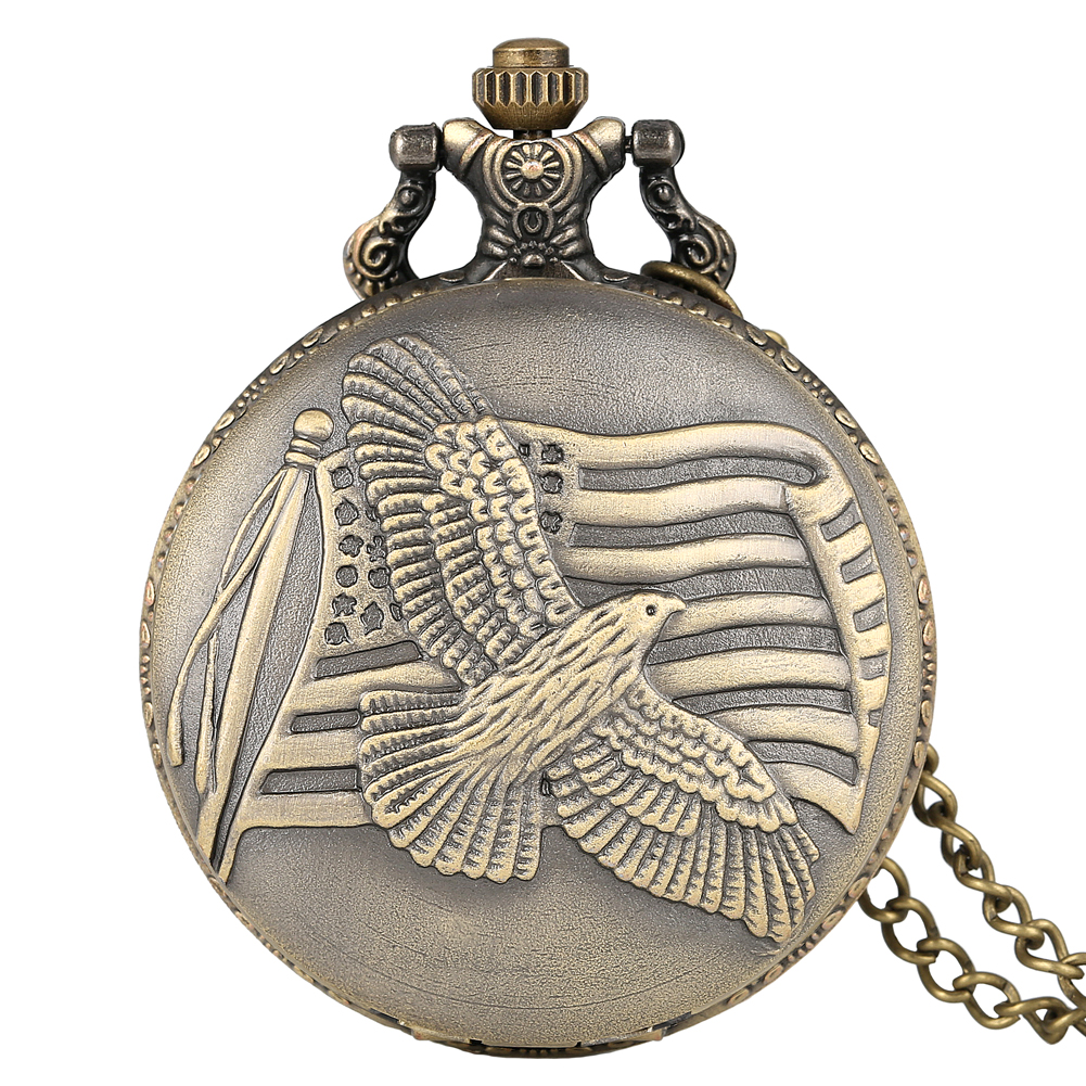 Antique Bronze US Flag Fob Clock Peace Dove Quartz Pocket Watch With Necklace Chain Men Women White Round Dial Gifts