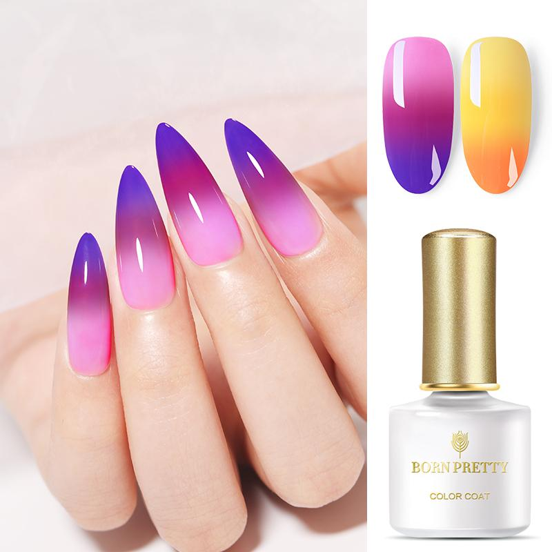 Купить с кэшбэком BORN PRETTY 6ML Thermal Nail Gel Polish 3 in 1 Temperature Color Changing Nail Art Soak Off UV Gel Varnish Long Lasting Gel