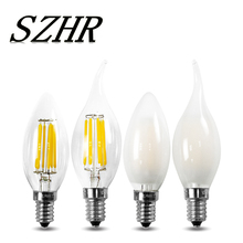 LED Filament Light Bulb 2w 4w 6w Frosted E12 E14 Candle Flame Lamp 110V 220V warm white COB chandelier led bulb