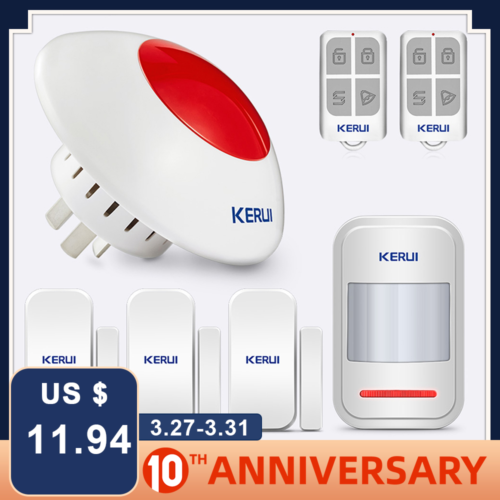 KERUI High Quality Wireless Flashing Siren Alarm System Flash Horn Red Light Strobe Siren Kit 433 MHz Suit For Most Alarm System