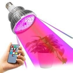 E27 Full Spectrum pilot Led lampa do uprawy roślin 50W High Power światło słoneczne funkcja odliczania czasu lampa fito dla kwiat ogrodowy Vege w Lampy do hodowli roślin od Lampy i oświetlenie na
