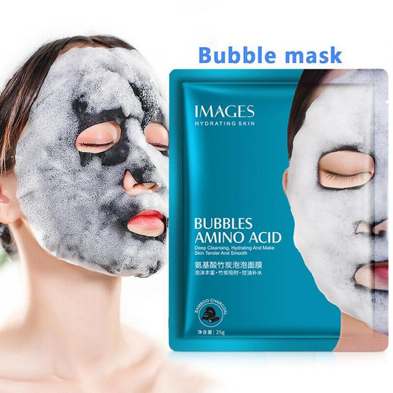 1pcs Oxygen Bubble Sheet Mask Amino Acid Bamboo Charcoal Bubble Mask Hydrating Moisturizing Oil Control Whitening Facial Mask