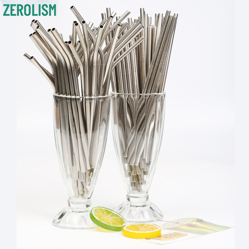 Reusable Stainless Steel 200Pcs/lot Metal Straws Wholesale E-co Friendly Drinking Straws 6MM*215MM Silver Tubes For 20/30 oz