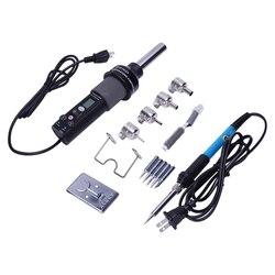 Us Plug  Gj 8018Lcd 220V 450W stopni regulowany elektroniczny Heat Hot Air rozlutownica stacja lutownicza + lutownica elektryczna w Opalarki od Narzędzia na