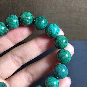 Image 3 - 12.2mm טבעי ירוק מלכיט צמיד נשים גברים מתנה ריפוי למתוח Chrysocolla עגול חרוז קריסטל צמיד תכשיטי AAAAA