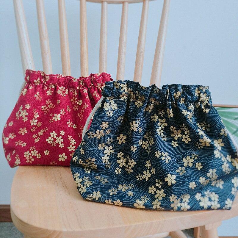 Japanese Style And Wind Cherry Blossom Bronze Drawstring Bento Box Bag Lunch Box Bag Cotton Linen Fabric Environmentally Friendl